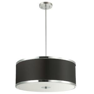 Zuri Polished Chrome with Black Four-Light Pendant