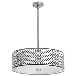 Dinette Three Light Pendant with Laser Cut Shade and Glass Diffuser