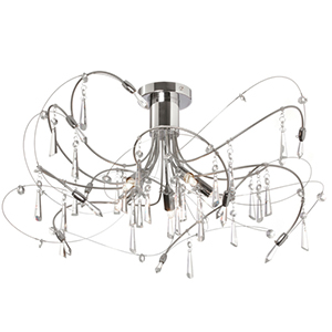 Firefly Polished and Satin Chrome Five Light Crystal Semi-Flush Fixture