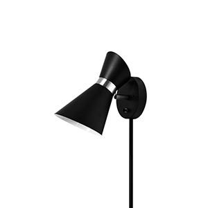 Cameron Black and Polished Chrome 6-Inch One-Light Wall Lamp
