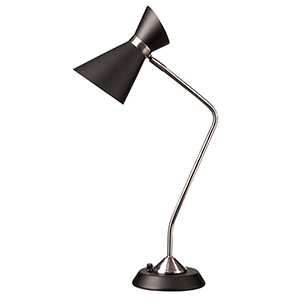 Mid Century Modern Polished Chrome 14-Inch One-Light Table Lamp