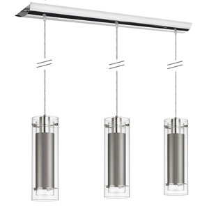 Fabric Glass Polished Chrome Three Light Mini Pendant with Steel Fabric Sleeve Silver Wire