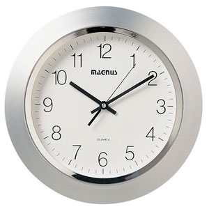 Silver One Light 14-Inch Clock