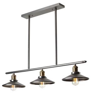 Vintage Steel Three-Light Horizontal Pendant