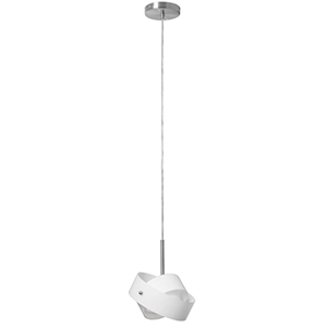 Satin Chrome One Light Single Mini Pendant with Frosted Glass
