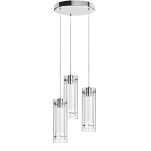 Fabric Glass Polished Chrome Three Light Round Mini Pendant with Jewel Tones White Fabric Sleeve