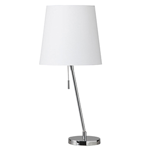 Polished Chrome One Light Canting Table Lamp with Linen Shade