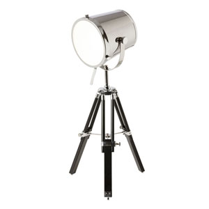 Chrome One-Light Tripod Spotlight Table Lamp