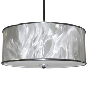 Ice Polished Chrome Three Light Pendant with White Ice Fabric