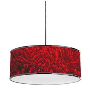Dinette Polished Chrome Three-Light Pendant with Red Shade