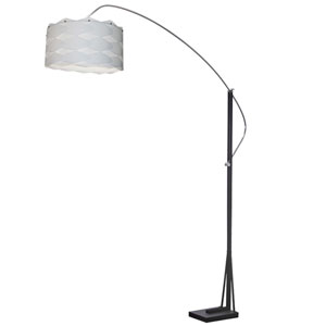 Polished Chrome and Matte Black One-Light 18-Inch Floor Lamp with White Shade
