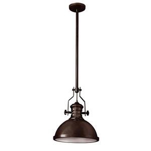 Vintage Oiled Bronze One-Light  13-Inch Pendant