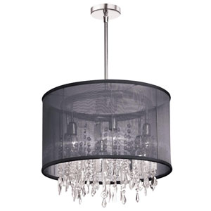 Bohemian Polished Chrome Six Light Crystal Chandelier with Chocolate Rust/Shade