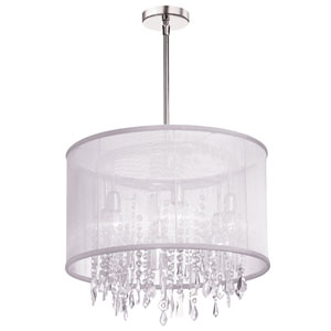 Bohemian Polished Chrome Six Light Crystal Pendant with White Organza Drum Shade