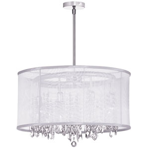 Bohemian Polished Chrome Eight Light Crystal Pendant with White Organza Drum Shade