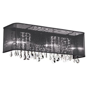 Bohemian Polished Chrome Four Light Sconce with  Rectangular Black Organza Shade