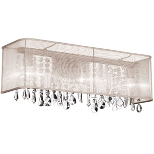 Bohemian Four Light Crystal Vanity with Oyster Organza Rectangular Shade