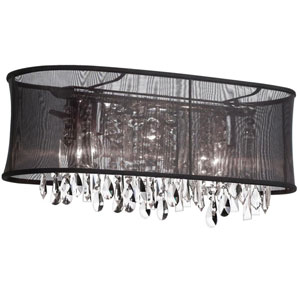 Bohemian Polished Chrome Four Light Sconce with  Oval Black Organza Shade