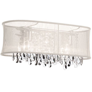Bohemian Four Light Crystal Vanity with Oyster Oval Organza Shade