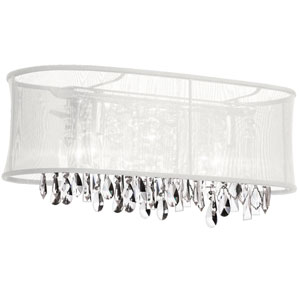 Bohemian Four Light Crystal Vanity with White Oval Organza Shade