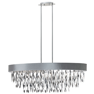 Allegro Polished Chrome Eight Light Oval Chandelier with Silver Shade