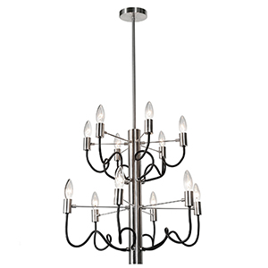 Abaco Satin Chrome and Matte Black 22-Inch Twelve-Light Chandelier