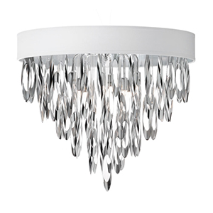 Allegro Polished Chrome Four Light Flush Mount Fixture with White Shade