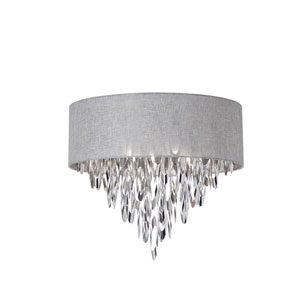 Allegro Polished Chrome Four-Light Flush Mount with Grey Shade