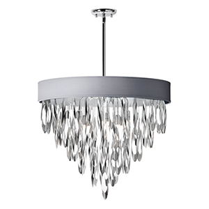 Allegro Polished Chrome Eight Light Chandelier with Silver Shade