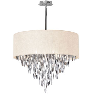 Allegro Polished Chrome Eight-Light Chandelier with Cream Shade