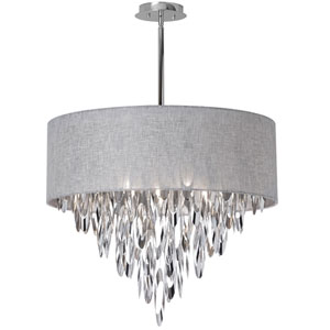 Allegro Polished Chrome Eight-Light Chandelier with Grey Shade