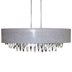 Allegro Polished Chrome Eight-Light Oval Chandelier with Grey Shade
