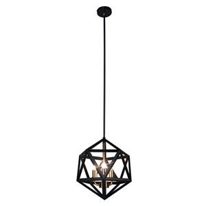 Archello Matte Black Three-Light  13-Inch Pendant with Antique Brass Accents