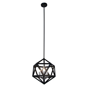 Archello Matte Black Three-Light  13-Inch Pendant with Satin Chrome Accents