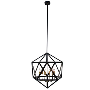 Archello Matte Black Six-Light  22-Inch Pendant with Antique Brass Accents