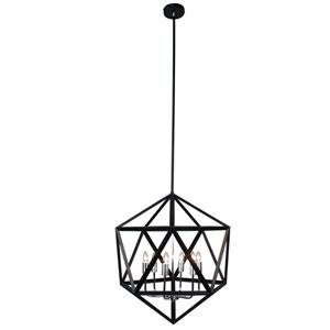 Archello Matte Black Six-Light  22-Inch Pendant with Satin Chrome Accents