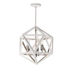Archello Matte White with Satin Chrome Accents 13-Inch Three-Light Chandelier