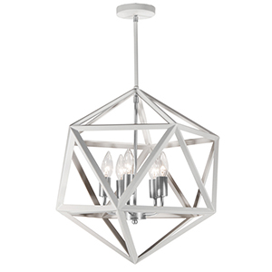 Archello Matte White with Satin Chrome Accents 18-Inch Five-Light Chandelier