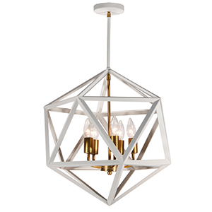 Archello Matte White with Vintage Bronze Accents 18-Inch Five-Light Chandelier