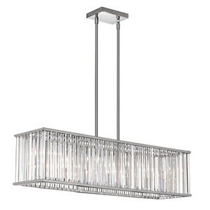Aruba Polished Chrome Seven Light Horizontal Crystal Chandelier