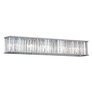 Aruba Polished Chrome Seven-Light Crystal Vanity