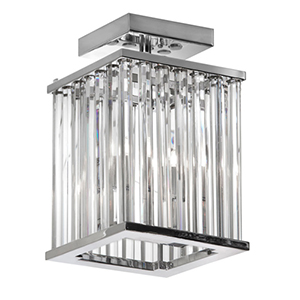 Aruba Polished Chrome Two Light Crystal Flush Mount Fixture