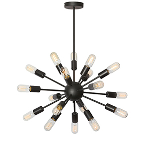 Bristol Matte Black 26-Inch Eighteen-Light Pendant