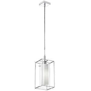Cubo Chrome 7-Inch One-Light Mini Pendant with Frosted Glass