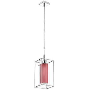 Cubo Chrome 7-Inch One-Light Mini Pendant with Red Shade