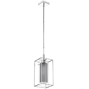 Cubo Chrome 7-Inch One-Light Mini Pendant with Grey Shade