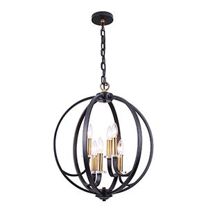 Cosmopolitan Black and Vintage Bronze 20-Inch Six-Light Chandelier