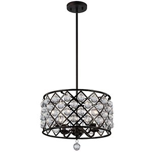 Cresfield Espresso 15-Inch Four-Light Pendant
