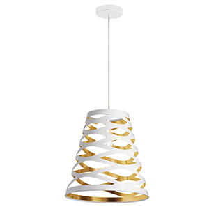 Cutouts White and Gold 14-Inch One-Light Pendant