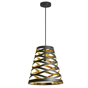 Cutouts Black and Gold 14-Inch One-Light Pendant